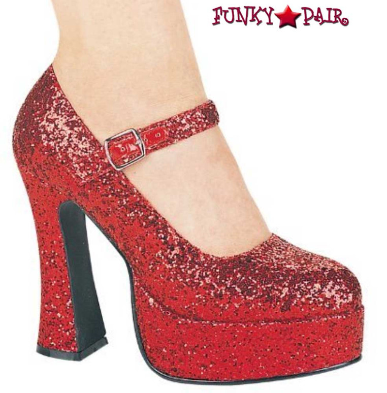 5 Inch Glitter Mary jane Shoes | Ellie Shoes 557-Eden-G color red