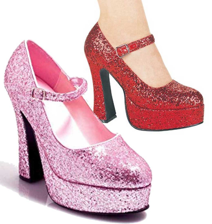 5 Inch Glitter Mary jane Shoes | Ellie Shoes 557-Eden-G color available: red glitter, pink glitter