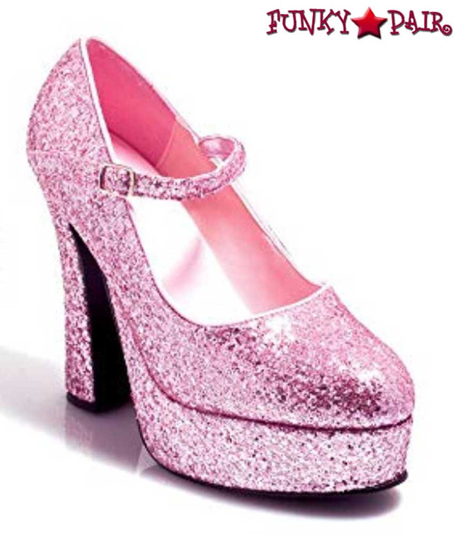 5 Inch Glitter Mary jane Shoes | Ellie Shoes 557-Eden-G color pink