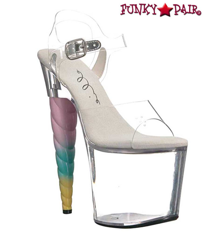 Unicorn Heel Platform Sandal | Ellie Shoes 777-Dashing color clear