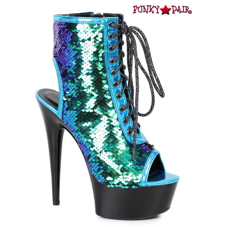 609-Tinsley, turquoise Peep Toe Sequin Ankle Boots by Ellie Shoes
