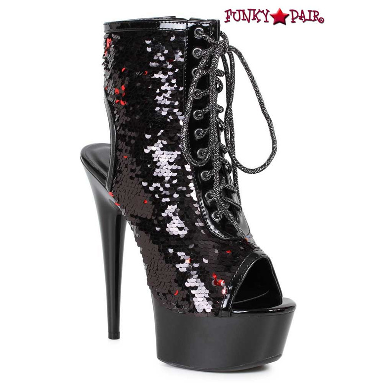 609-Tinsley, Black Peep Toe Sequin Ankle Boots by Ellie Shoes
