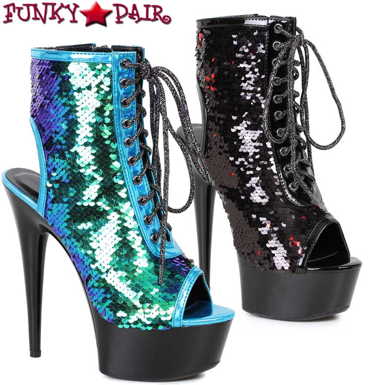 Ellie Shoes   609-Tinsley   Peep Toe Sequin Ankle Boots