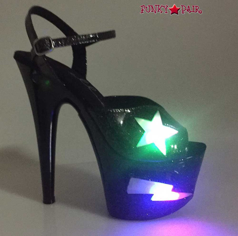Ellie Shoes   709-FREESIA, 7 Inch Heel Platform with Lite Up Star color black with light