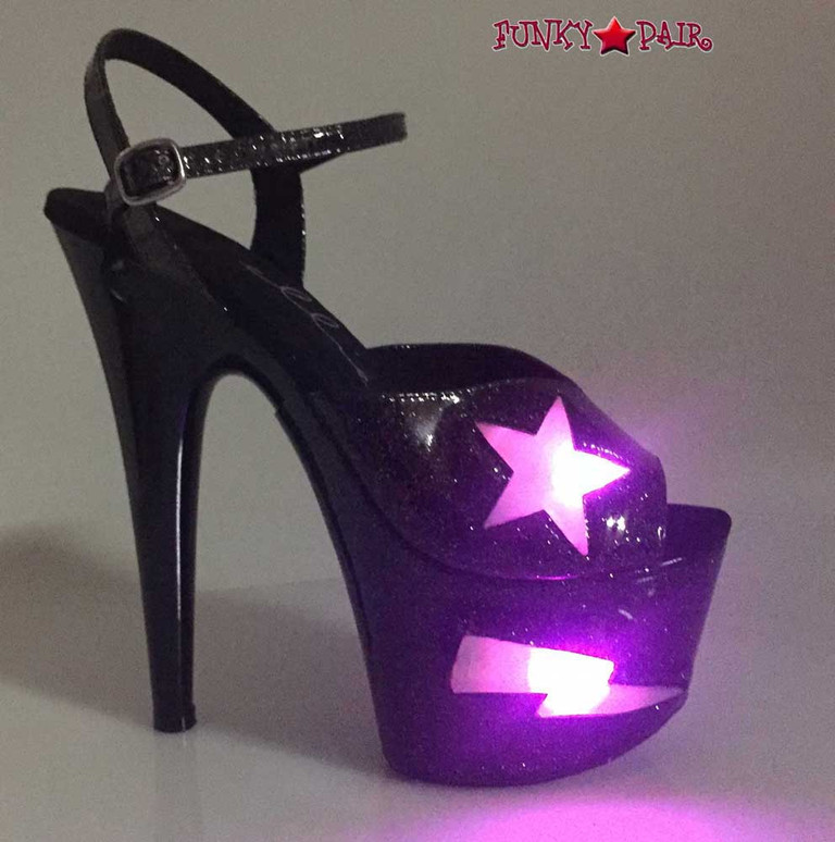 Ellie Shoes | 709-FREESIA, 7 Inch Heel Platform with Lite Up Star