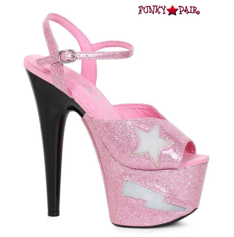 Ellie Shoes   709-FREESIA, 7 Inch Heel Platform with Lite Up Star color pink