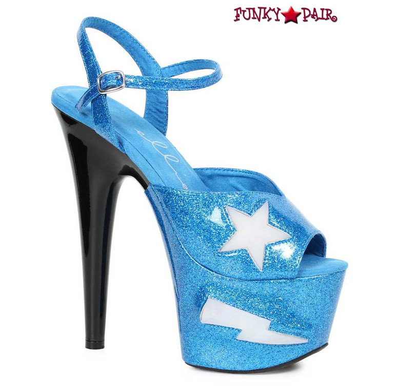 Ellie Shoes   709-FREESIA, 7 Inch Heel Platform with Lite Up Star color turquoise