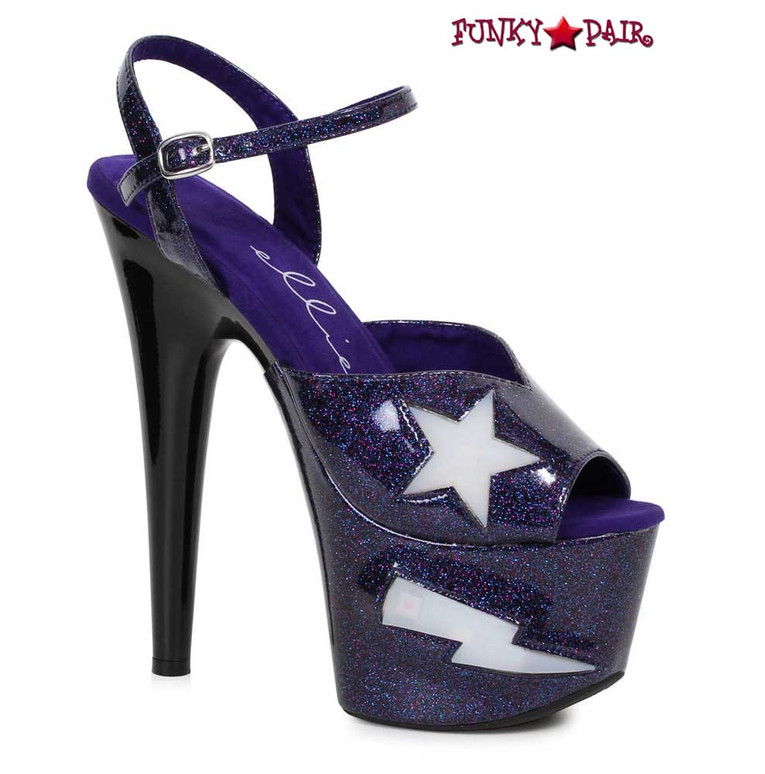 Ellie Shoes   709-FREESIA, 7 Inch Heel Platform with Lite Up Star color black
