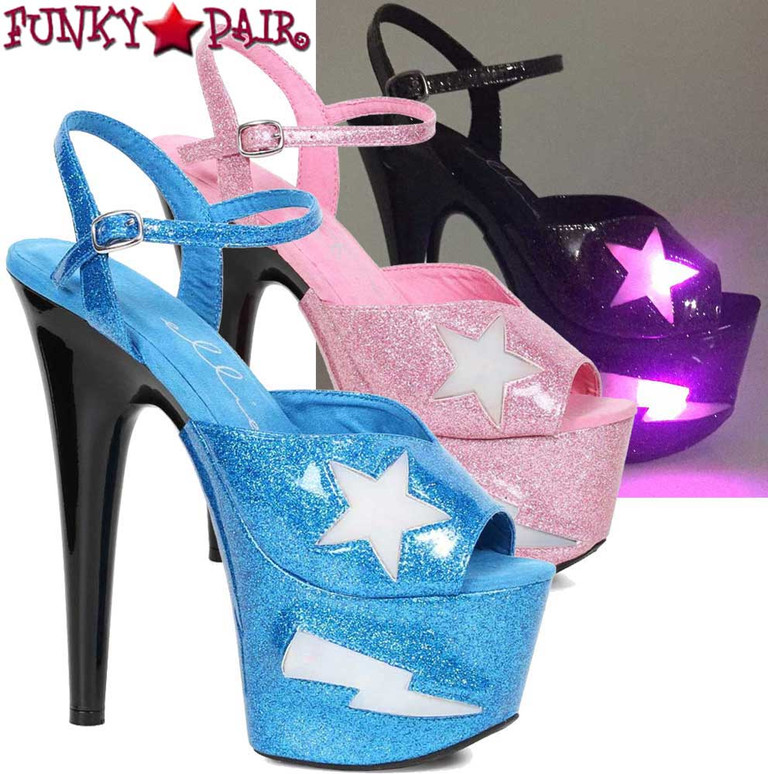 Ellie Shoes | 709-FREESIA, 7 Inch Heel Platform with Lite Up Star | FunkyPair.com