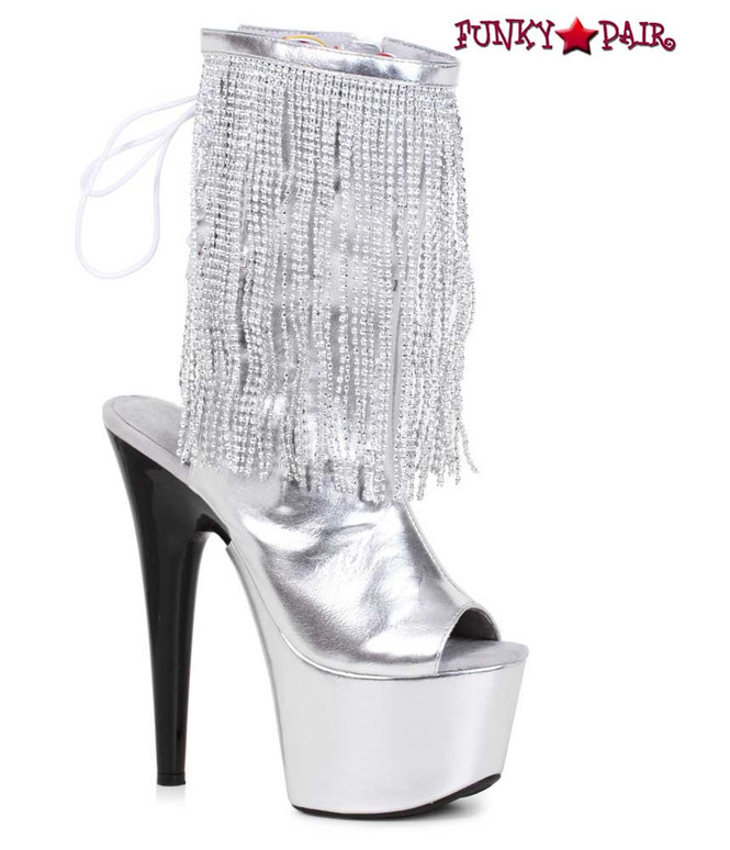 Ellie Shoes | 709-Dazzle, 7 Inch Open Toe Boots with Fringe Color Silver