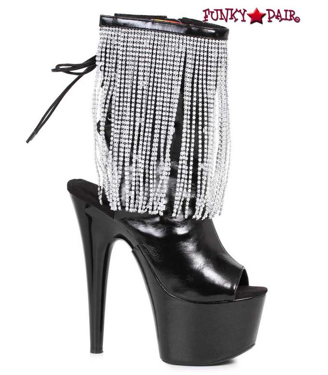 Ellie Shoes | 709-Dazzle, 7 Inch Open Toe Boots with Fringe Color Black