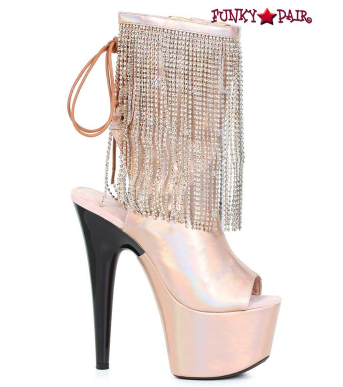 Ellie Shoes | 709-Dazzle, 7 Inch Open Toe Boots with Fringe Color Gold