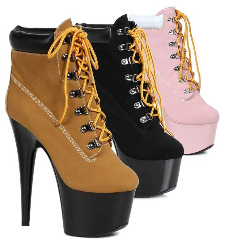 7 Inch Lace up Ankle Boots | Ellie Shoes 709-Faith Color available: Black, Brown, Pink