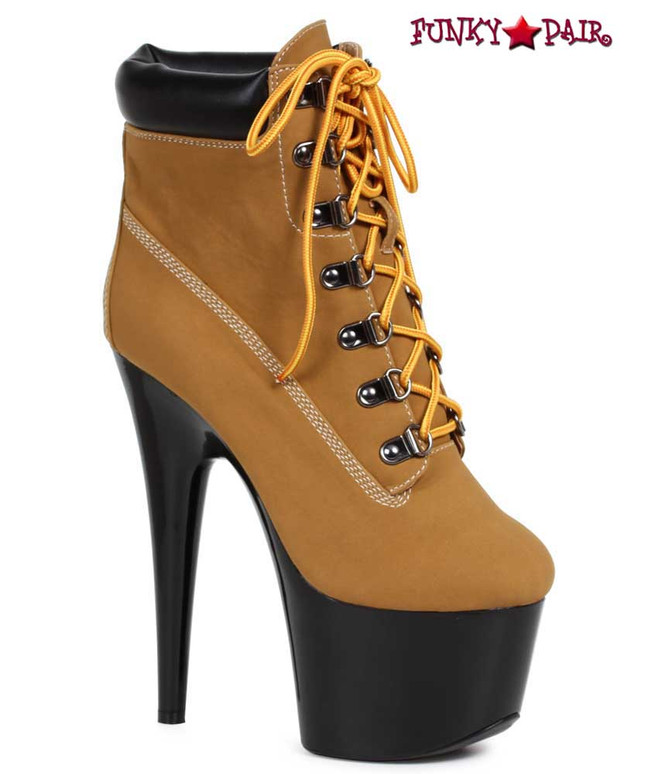 Brown 7 Inch Lace up Ankle Boots | Ellie Shoes 709-Faith