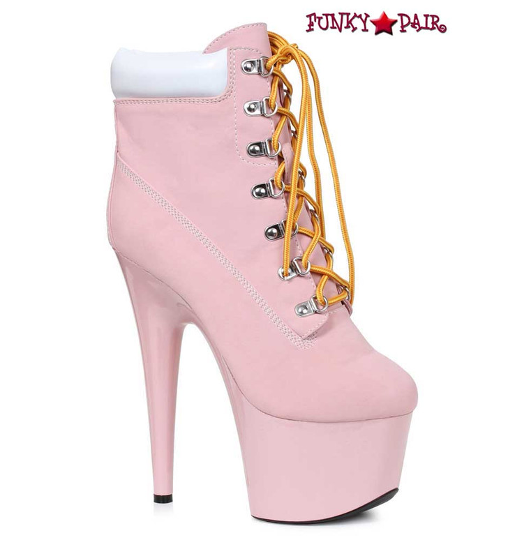 Pink 7 Inch Lace up Ankle Boots | Ellie Shoes 709-Faith