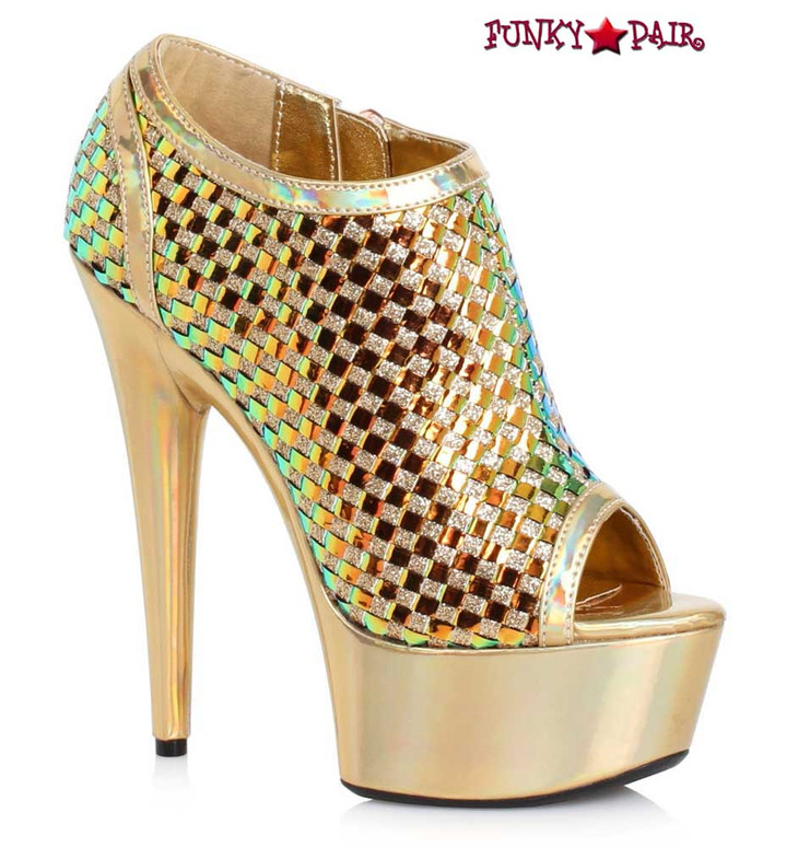 Ellie Shoes | 609-Jaclyn, 6 Inch Ankle Boots with Weave Color gold