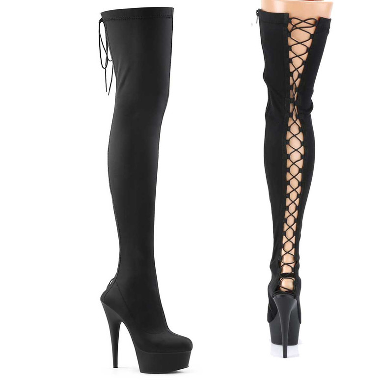 Delight-3003, 6 Inch Back Lace-up Lycra Thigh High Boots by Pleaser USA