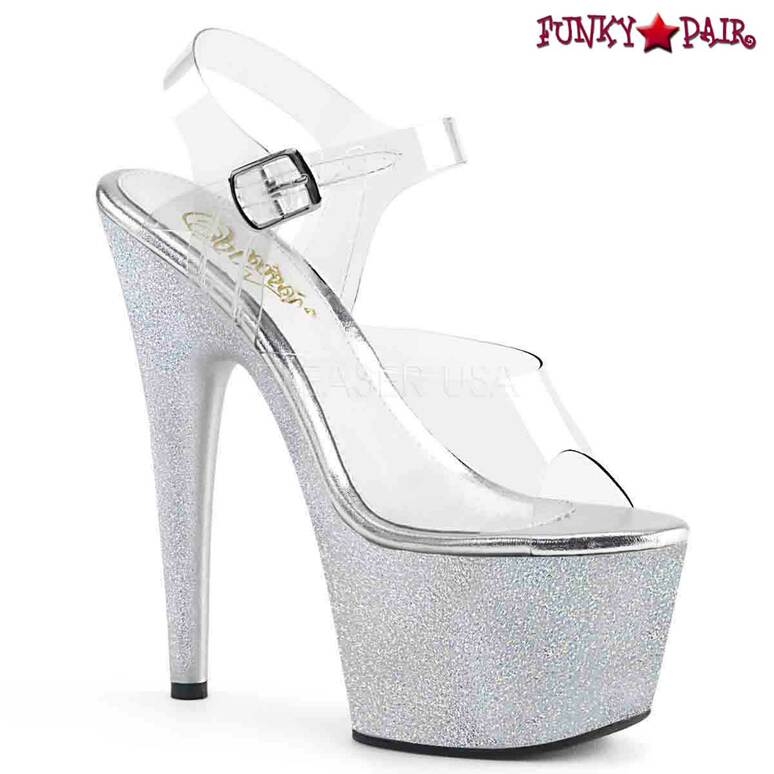 Pleaser   Adore-708HG, Extra Fine Holographic Glitter Dust Ankle Strap Sandal color silver