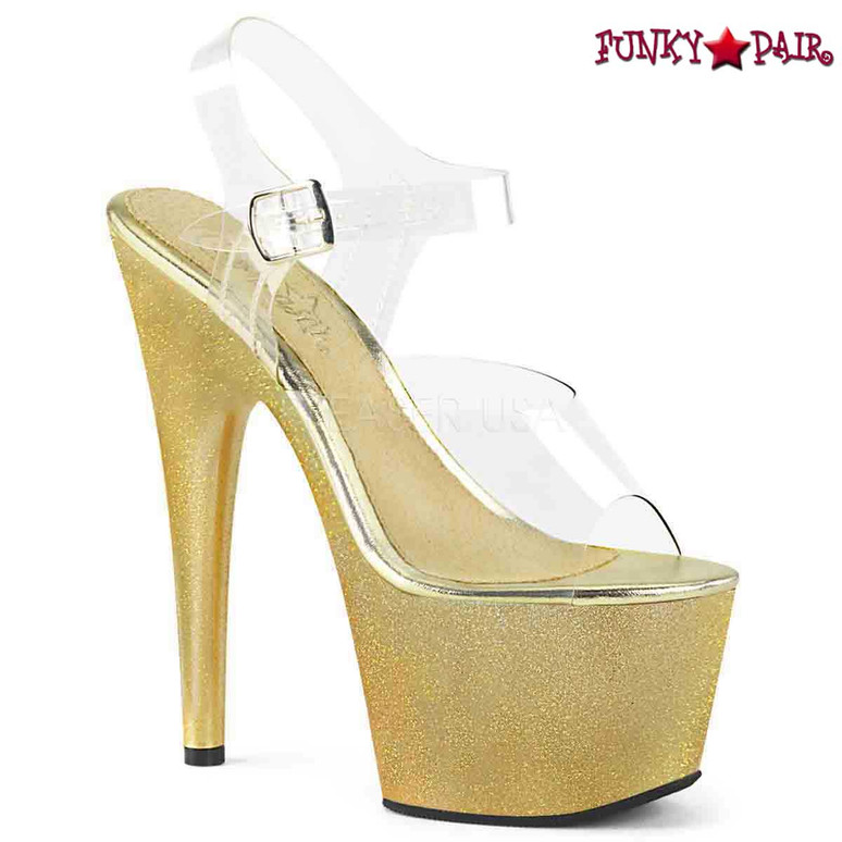 Pleaser   Adore-708HG, Extra Fine Holographic Glitter Dust Ankle Strap Sandal color gold