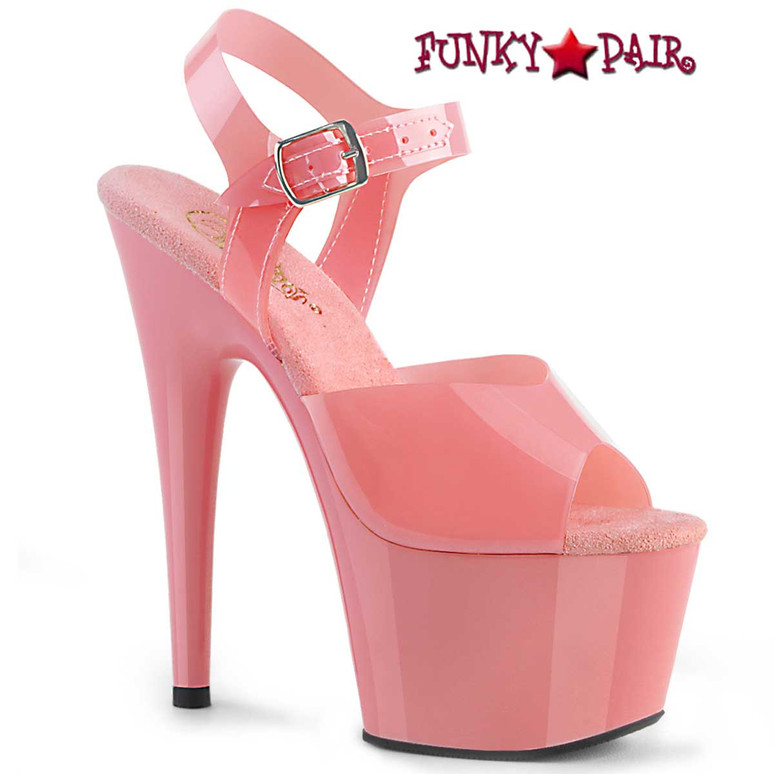 Adore-708N, 7 Inch Jelly Like Baby Pink Platform Sandal by Pleaser