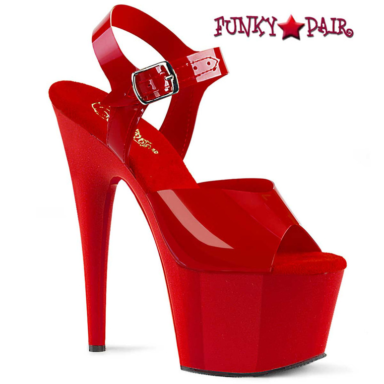 Adore-708N, Red 7 Inch Jelly Like Ankle Strap Platform Sandal by Pleaser