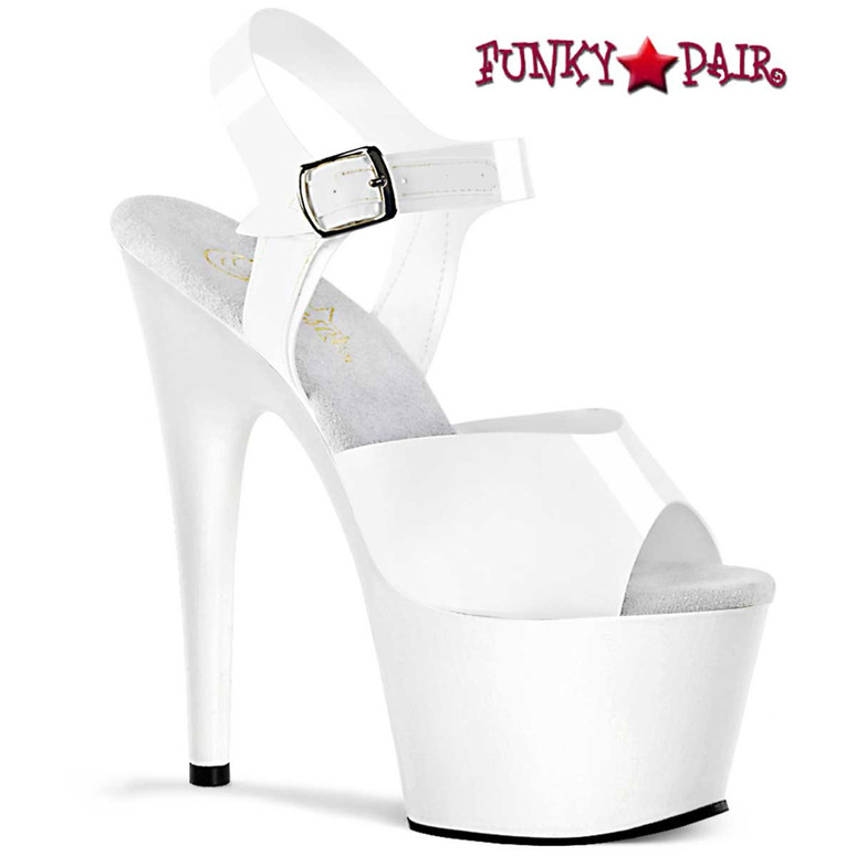 Adore-708N, 7 Inch White Jelly Like Ankle Strap Platform Sandal by Pleaser