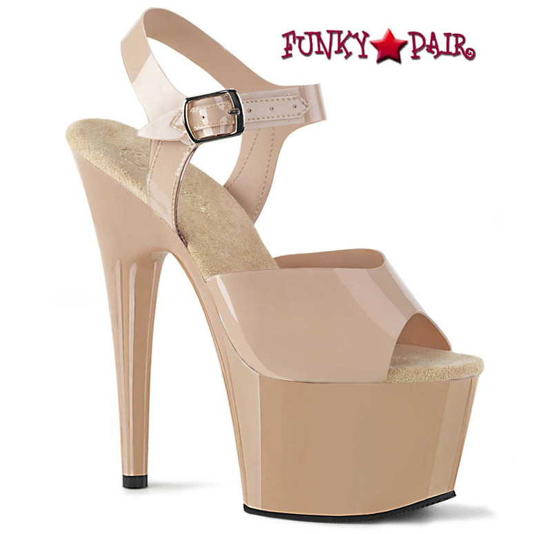 Adore-708N, 7 Inch Jelly Like Ankle Strap Cream Platform Sandal by Pleaser