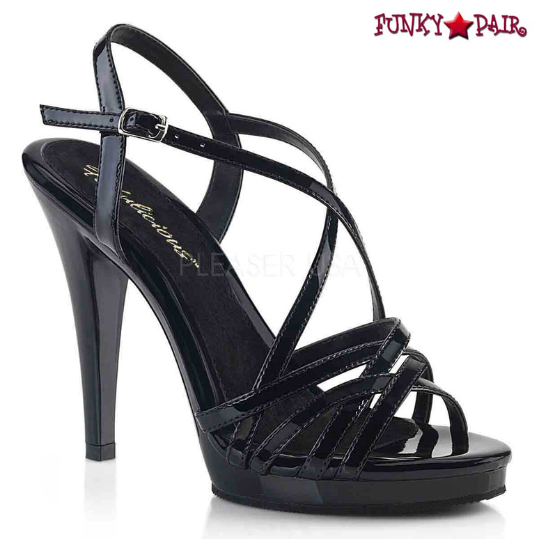 Fabulicious | Flair-413, Criss-Cross Strappy Sandal color black