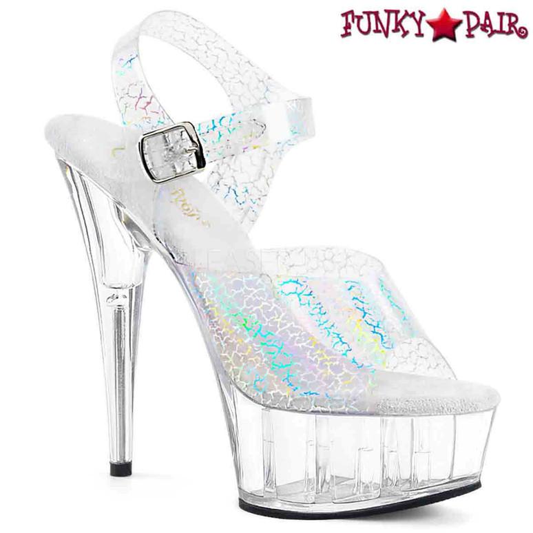 Pleaser | Delight-608N-CK, Cracker Holographic Print Ankle Strap Sandal color silver
