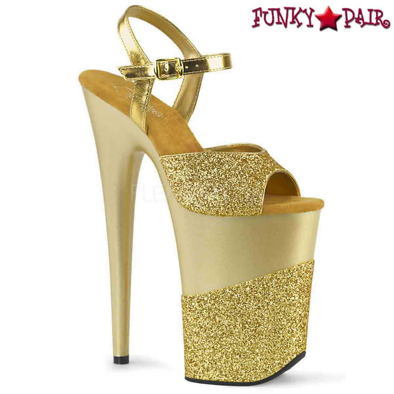 Pleaser | Infinity-909-2G, Xtreme High Heel Glitter Platform Sandal color gold