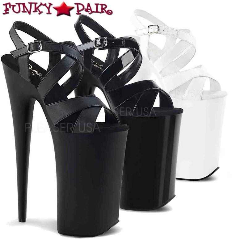Pleaser | Beyond-097, Stiletto Heel Criss Cross Platform Sandal