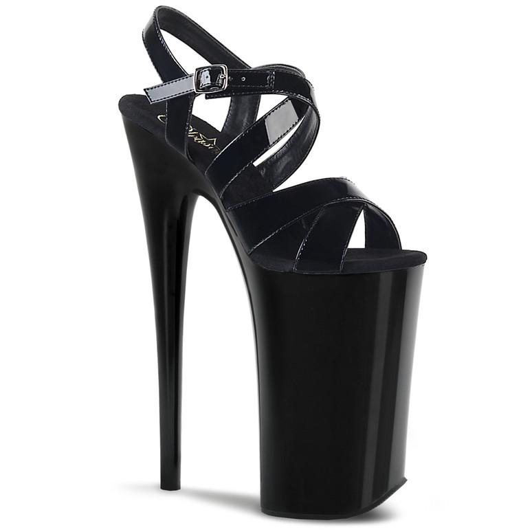Pleaser | Beyond-097, 10 Inch Stripper Heel Criss Cross Platform Sandal