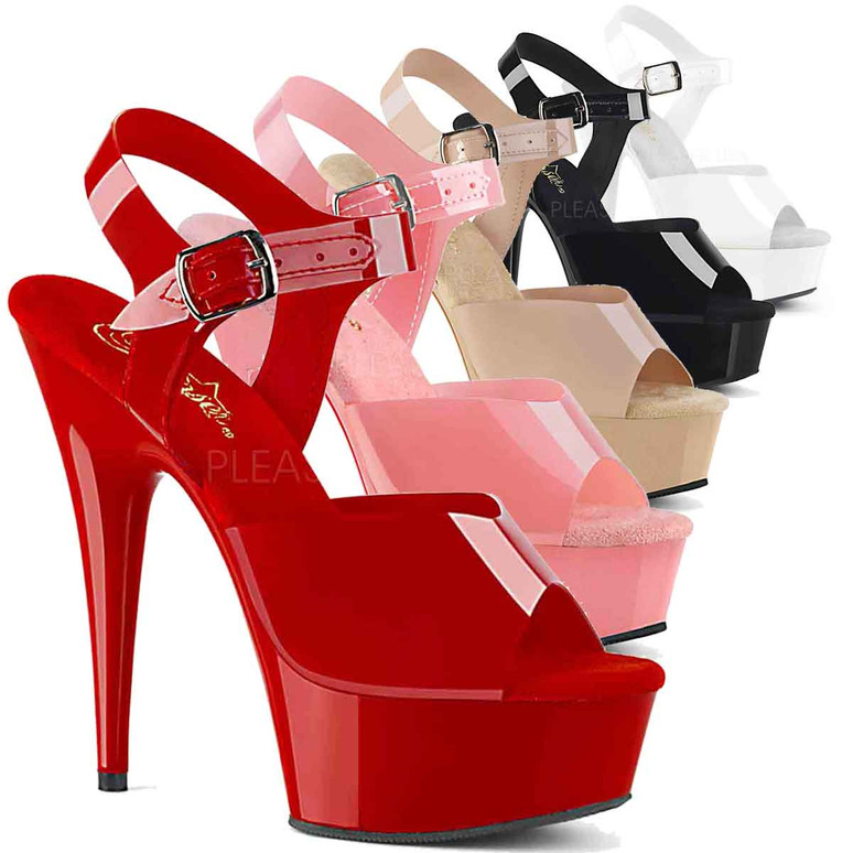 Stripper Shoes   Delight-608N, Jelly Like Ankle Strap Platform Sandal color available: baby Pink, Red, Cream, Black, White