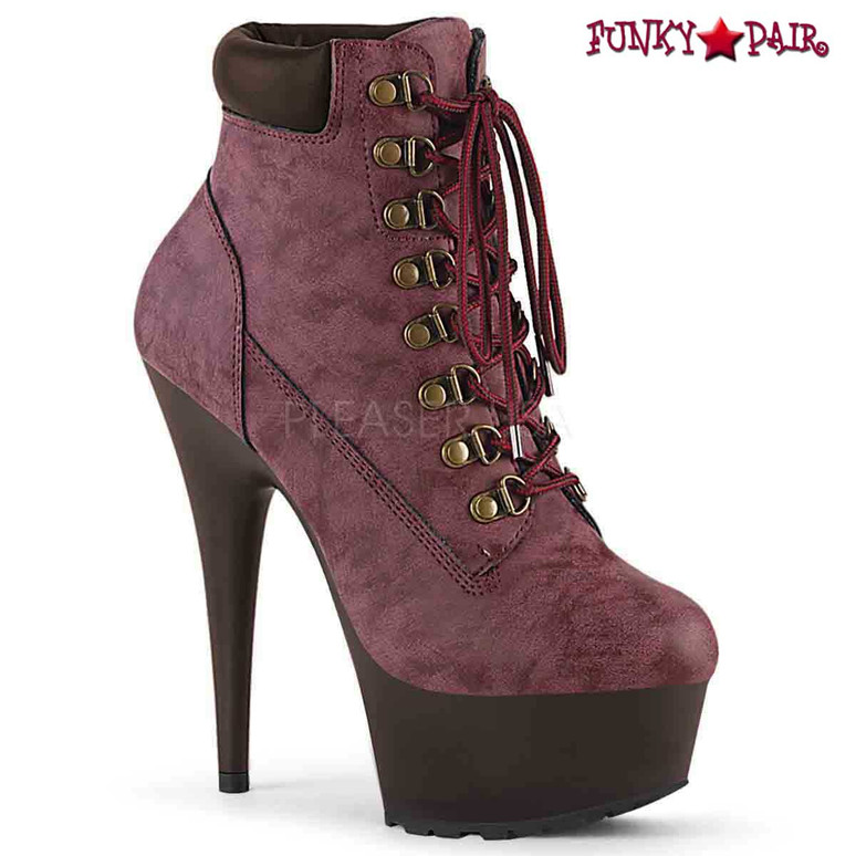 Pleaser USA | Delight-600TL-02, Lace-up Bootie color Burgundy