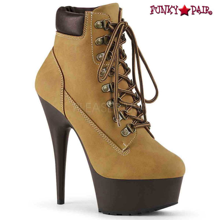 Pleaser USA | Delight-600TL-02, Lace-up Bootie color Tan