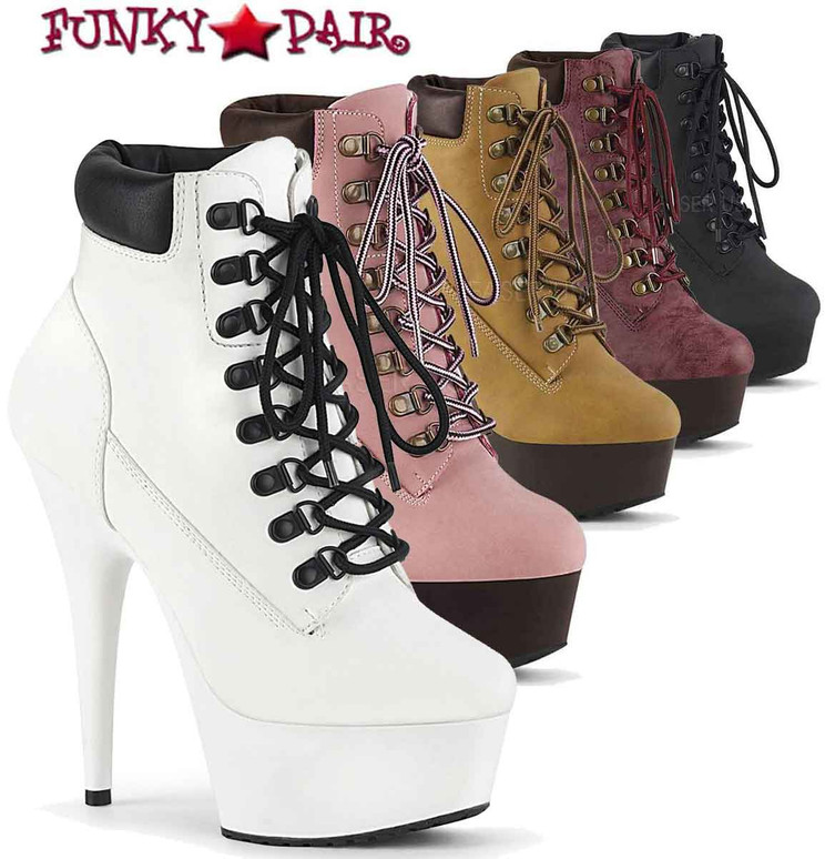 Delight-600TL-02, Lace-up Bootie by Pleaser