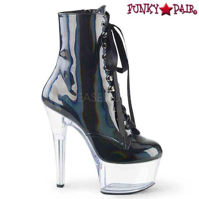 Pleaser | Aspire-1020BHG, Hologram Ankle Boots color black