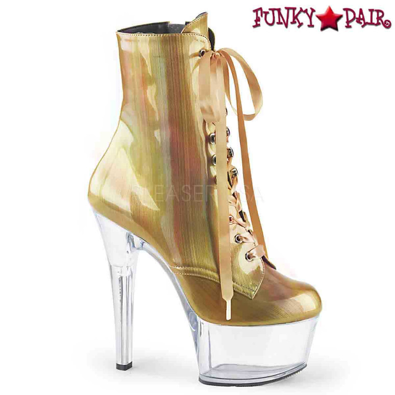 Pleaser | Aspire-1020BHG, Hologram Ankle Boots color gold