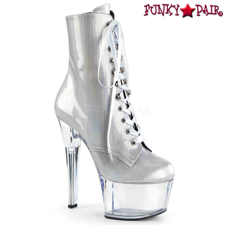 Pleaser | Aspire-1020BHG, Hologram Ankle Boots color silver