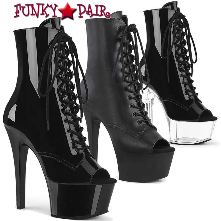 Pleaser   Aspire-1021, Open Toe Lace Up Ankle Boots