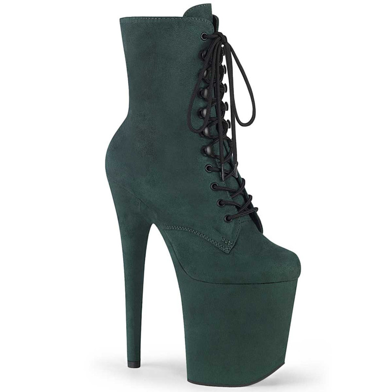 "Flamingo-1020FS, 8"" Emeral Green Faux Suede Stripper Ankle Boots"