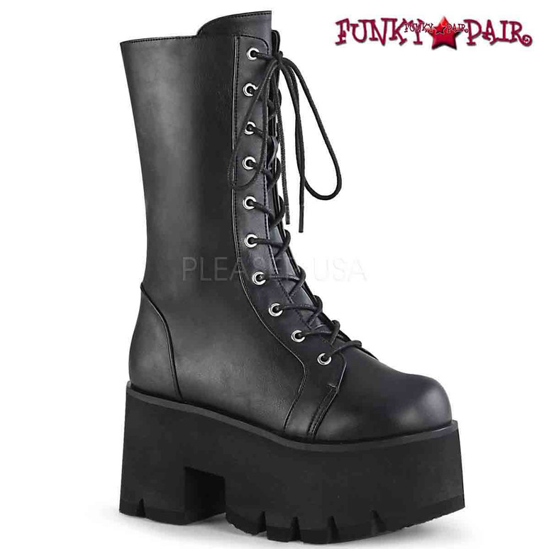 Demonia Boots | ASHES-105, Lace-up Mid-Calf Chunky Platform Boots