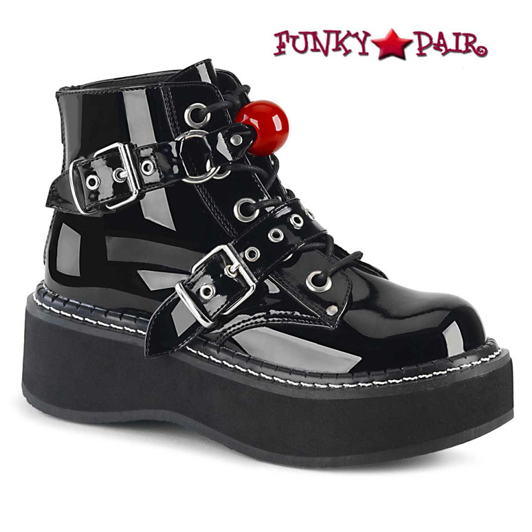 Demonia | EMILY-318, Ankle Boots with Red Ball