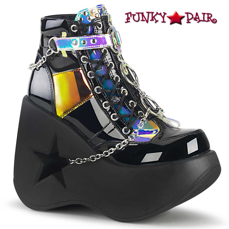 Demonia | DYNAMITE-101, Star Cut-Out Wedge Ankle Boots color black mirror