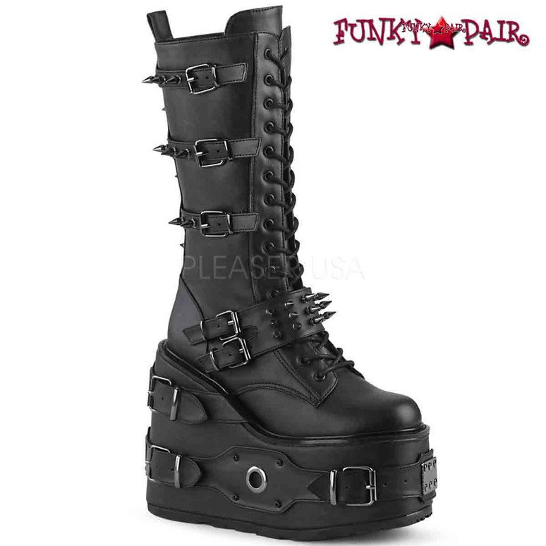 Demonia | SWING-327, Platform Wedge Knee High Boots with Spike Buckles Platform Wedge Lace-Up Front Knee High Boot Featuring Multi Metal Spike Adorned Buckle Straps & Buckle Straps w/ O-Ring & Metal Plate Detail on the Platform, Inside Zip Closure