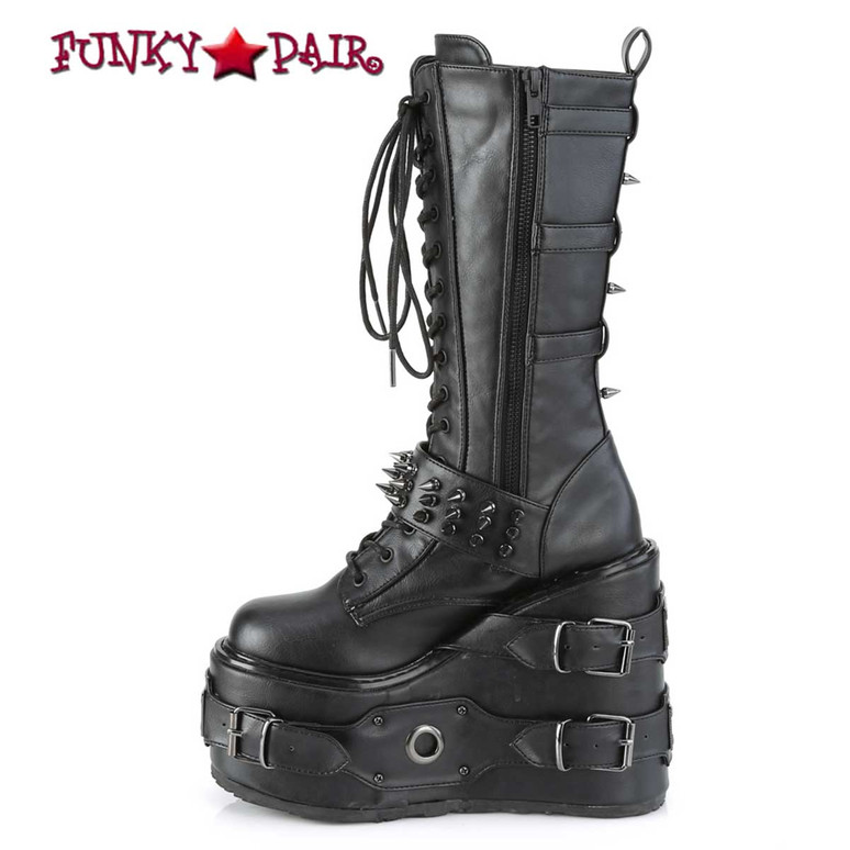Demonia | SWING-327, Zipper View Platform Wedge Knee High Boots with Spike Buckles