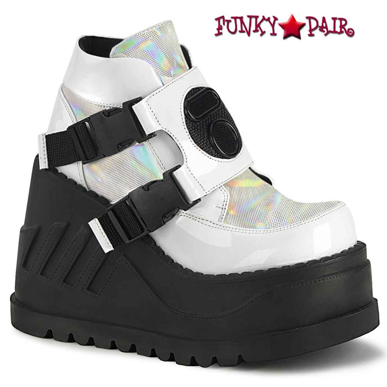 Stomp-15 White Wedge Platform Bootie with Buckles by Demonia
