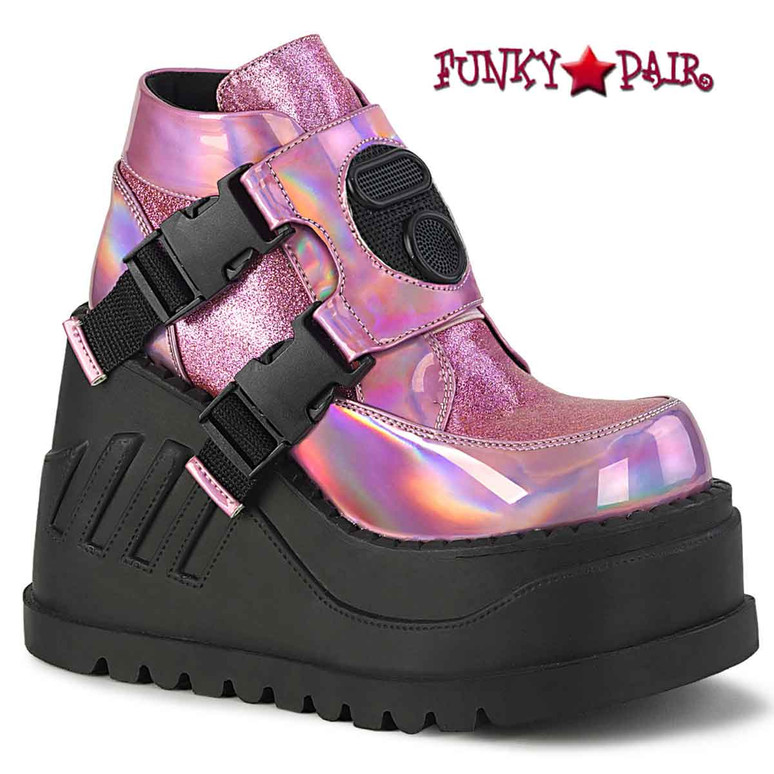 Stomp-15 Pink Wedge Platform Bootie with Buckles by Demonia