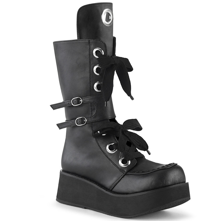 Women Demonia SPRITE-210, Platform Mid-Calf Lace-up Boots with Buckles