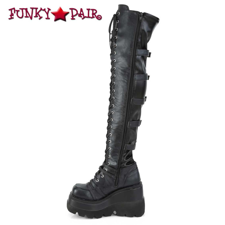 Demonia SHAKER-350, Wedge Thigh High Lace-up Platform Boots Zipper Side View